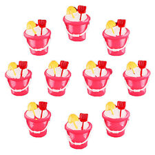 10pcs Summer Beach Hot Pink Sand Bucket Pail w/ Shovel Resin Flatbacks Crafts