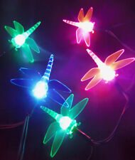 Dragonfly Fairy Garden 10 LED Lights Pink Green Blue Battery Op 2AA DIY Project