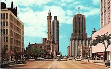 1966 Chrome Postcard North Michigan Ave Chicago IL Palmolive Building St View
