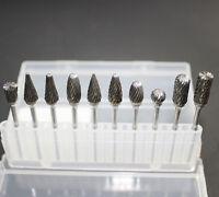 10pcs Tungsten Carbide Cutter Kit Dental Burs Lab Tooth Drill Polisher 2.35mm