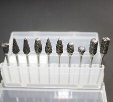 10pcs Dental Lab Tungsten Carbide Cutter Kit For Polishing Teeth Drill Handpiece