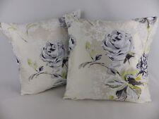 Designers Guild Freya Silk Cushion Covers 2 Pillow Grey Floral & velvet Fabric