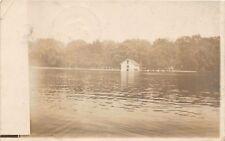 D23/ Mount Gilead Ohio Postcard Real Photo RPPC Lake Boathouse Boats