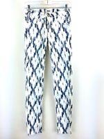 Paige Women's Blue White Ikat Verdugo Ultra Skinny Jeans Size 25