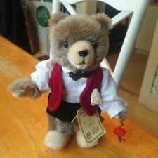 LE mohair Hermann Teddy Original Teddy baby bear, velvet suit, 8 inches, EUC