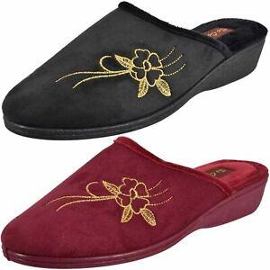 Ladies Wedge Slipper Mule Heel Slip On House Comfort Memory Foam Shoe Size 3-8