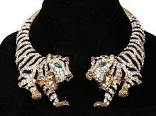 STATEMENT TIGER GOLD BLACK Choker NECKLACE CLEAR RHINESTONE Crystal