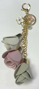 WHITE PALE PINK PEARLS GRAY LEATHER 3 ROSE TASSELS GOLD CRYSTAL FLOWER BAG CHARM