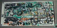 ANDREW TURNER Large Green Abstract Painting Musical Horn Bass Jazz String