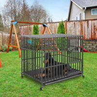 "Large Dog Crate 32-46"" Pet Cage w/Wheels Heavy Duty Steel Strong Metal Kennel"