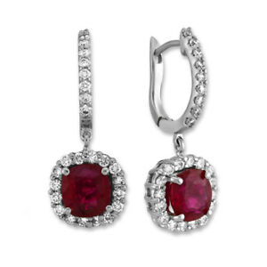 3.64 Ct Cushion Cut Natural Ruby Earring 14Kt Solid White Gold Women's Hoops
