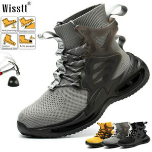 Mens Work Safety Boots Hiking Backpacking Mid Ankle Steel Toe Construction Shoes