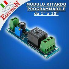 MODULO RELE' 12V TEMPORIZZATORE RITARDO REGOLABILE 0-10sec TIMER NE555 10A/250V