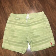 Mens LARGE Green TOMMY BAHAMA Board Shorts Striped RELAX LOGO Swim suit Trunks