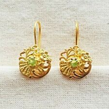 Incredibly Crafted Peridot Vermeil 14K Gold Over Sterling Silver Earring