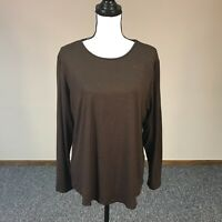 Chicos Brown Metallic Sweater Tee Women's Size 3 Casual Long Sleeve Knit Top
