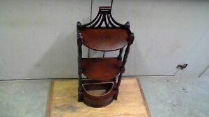 Vintage Butler Mahogany Display Wall Shelf With Column Sides & Copper Planter