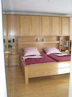 12662 Überbau Schlafzimmer Bett Weiß Nussbaum Extra Kreta Rauch ...