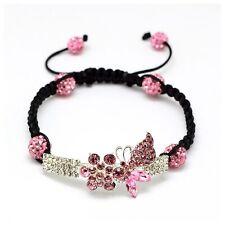 Rhinestone Butterfly Shamballa Bracelet