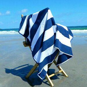 4 X Luxury Pool Towels 100% Cotton Beach Towel Soft Stripe Swimming Bath Sheet