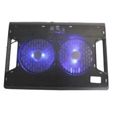 "12-15"" Laptop PC USB Blue LED 2 Big Fan Powerful Cooler Cooling Stand Pad Black"