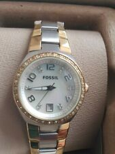 Fossil Ladies 2 Tone Mother of Pearl Watch AM4183 Boxed