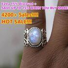 Women's Boho Natural Gemstone Sterling 925 Silver Rainbow Moonstone Ring