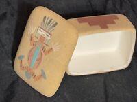 Vintage Navajo Sand Art Ceramic Trinket Box Hand Painted & Hand Made Art