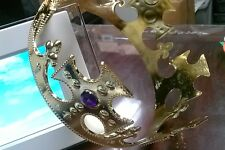 Adult Adjustable Size Gold Jewels King Queen Costume Royal Crown Head Wear Piece