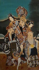ANTIQUE CHINESE REVERSE PAINTING DEPICTING OF EMPEROR WITH A SERVERS $ IMMORTAL