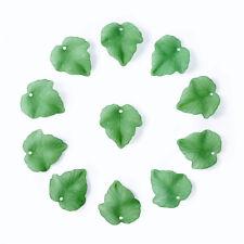 100pcs Frosted Transparent Acrylic Grape Leaf Pendants DIY Green X-PAF002Y-7