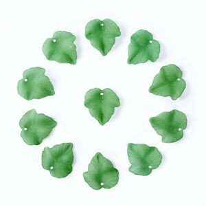 100 pcs Green Frosted Transparent Acrylic Grape Leaf Pendants Charms 24x2.5x3mm