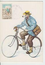 CARTE MAXIMUN FRANCE   TIMBRE N°1710 FACTEUR A BICYCLETTE EN 1890