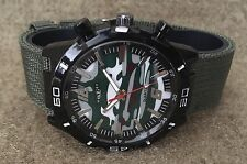 Men's Military Camouflage Green Chronograph Style Analog Quartz Watch Nylon