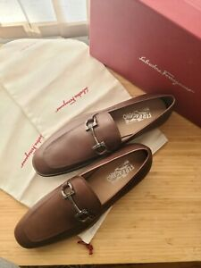 NWB Salvatore Ferragamo mens Scarlet Leather dress shoes Brown 10.5 E