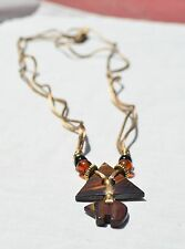 Vintage Tiger Eye Jasper Gemstone Triangle Mountain Bear Pendant  Necklace