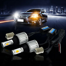 A1 2x Dual 1156 LED Bulb Switchback White/Amber DRL Turn Signal Light Canbus