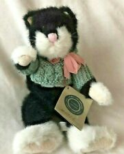 The Boyds Collection J.B. Bean Black White Cat Green Sweater Pink Rose 5304