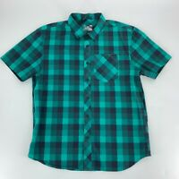 Under Armour Mens Short Sleeve Button Up Shirt Size L Green plaid Loose Fit