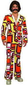 Disco 70's Retro Leisure Suit Block Pattern Funny Men's Adult Halloween Costume
