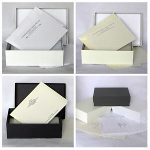 Gift Box Set 50 Personalised Correspondence Cards & Envelopes Notecard Thank You