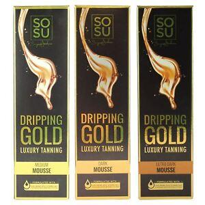 SOSU by SJ Dripping Gold Luxury Self Tanning Mousse Fake Dark Medium Ultra Dark