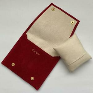 CARITER Genuine Watch Case Pouch & Cushion Red Suede Unused 2 pockets