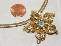 Vtg CORO Millefiori Evel Eye Bead Flower Pendant Gold Omega Chain Necklace 4k 40