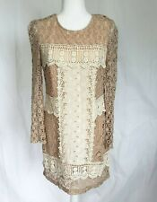 Anthropologie Champagne & Strawberry Beige Lace Dress Medium