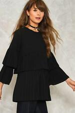 Nasty Gal You Come Pleat Me Ruffle Blouse Black Size UK 10 rrp £30 DH079 PP 09