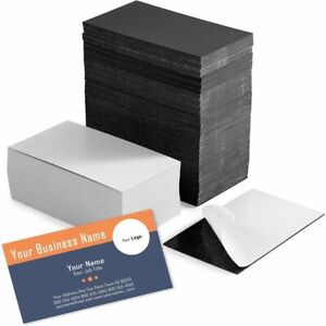 Self Adhesive Business Card Magnets with White Cards Peel and Stick, 100 Pack