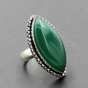 925 Silver Plated Green Onyx Large Gemstone Ring Size 8 US Jewelry RJ176-55