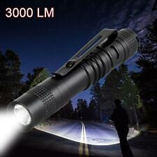 CREE Q5 LED Tactical Flashlight 3000 LM Bright Torch Lamp Mini Pen Light AAA FT