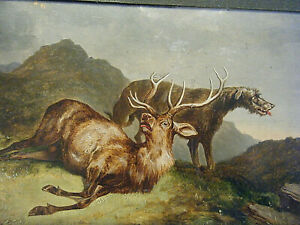 Original Edwin Henry Landseer 1840s Oil on Board Painting Dying Stag & Wolfhound